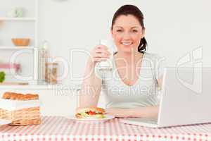 Beautiful woman relaxing on her laptop and posing while drinking