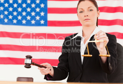 Close up of a cute judge knocking a gavel and holding scales of