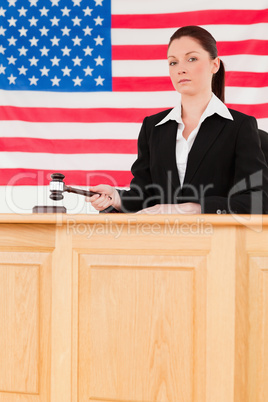 Portrait of a focused judge knocking a gavel looking at the came