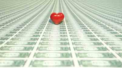 Heart with many one dollar bills