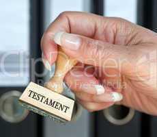 Testament - Stempel mit Hand