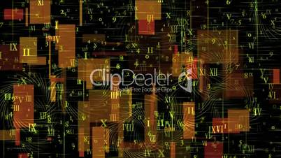 number and alphabet matrix in square wire background,higher mathematics and calculus,finance market display.