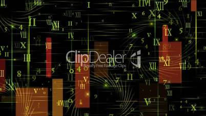higher mathematics and calculus,number and alphabet matrix in square wire background,finance market display.