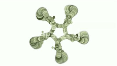 round and circle array shaped swirl flower fancy pattern,long chain,like snake body and monster tail.