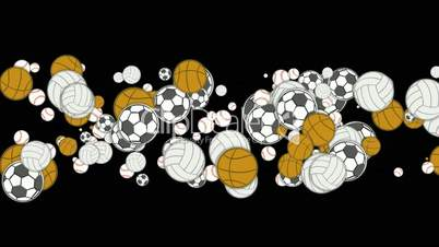 Sports balls,basketball,football,softball,volleyball,tennis.
