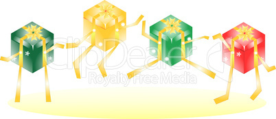 Gift Box smile dance isolated on white background