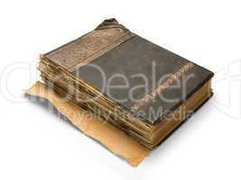 old book with an engraving, isolated on white background