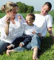 unge Eltern mit Kleinkind im Sommer auf der Wiese