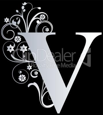 Verzierter Buchstabe V