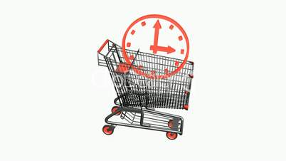 Shopping Cart and clock.retail,push,sale,buy,wheel,object,white,cart,empty,isolated,