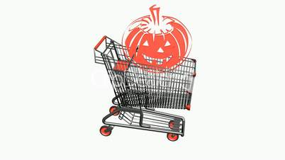 Shopping cart with pumpkins,Halloween.retail,buy,cart,shop,basket,sale,supermarket,market,mall,