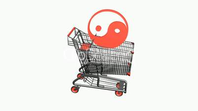 Shopping cart with the yin-yang.retail,buy,cart,shop,basket,sale,customer,discount,supermarket,