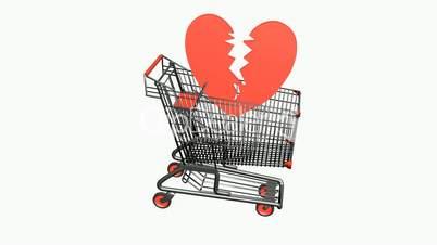Shopping Cart and heart.Sad,retail,buy,cart,shop,basket,sale,customer,discount,supermarket,market,