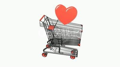 Shopping Cart and heart.retail,buy,cart,shop,basket,sale,customer,discount,supermarket,market,