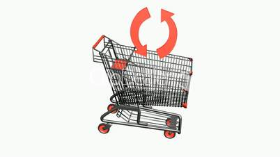 Shopping cart and recycling icon.retail,buy,cart,shop,basket,sale,customer,supermarket,