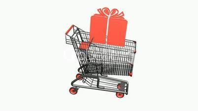 Shopping cart with gift box.retail,buy,cart,shop,basket,sale,customer,discount,