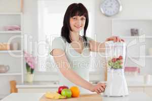 Charming brunette woman using a mixer while standing