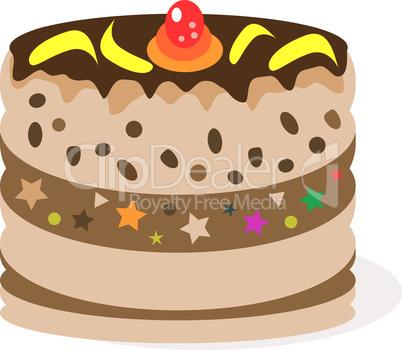celebratory chocolate cake and bananas