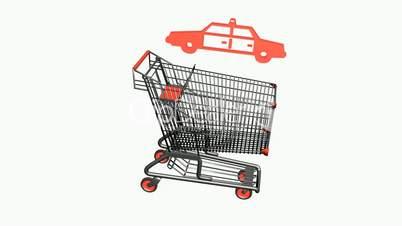 Shopping Cart and Police car.retail,buy,cart,shop,basket,sale,supermarket,market,mall,