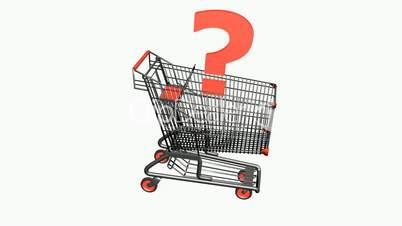 Shopping Cart and Question mark.retail,buy,cart,shop,basket,sale,customer,supermarket,market,
