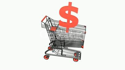 Shopping Cart with dollar.retail,buy,cart,design,shop,basket,sale,customer,discount,