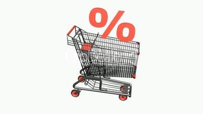 Shopping cart with discount symbol.retail,buy,cart,design,shop,basket,sale,customer,discount,
