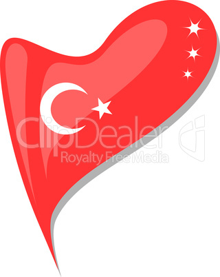 turkey in heart. Icon of turkey national flag. vector