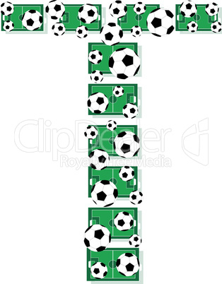 t, Alphabet Football letters made of soccer balls and fields. Vector