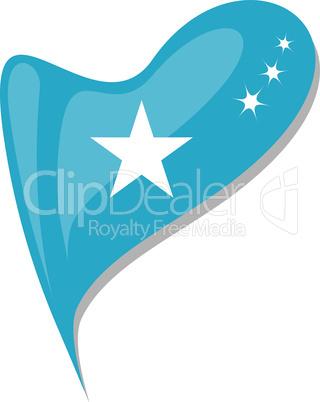 somali in heart. Icon of somali national flag. vector