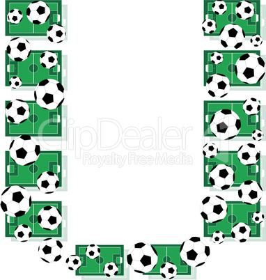 u, Alphabet Football letters made of soccer balls and fields. Vector