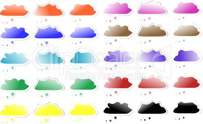 set of Speech cloud bubbles