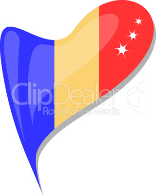 chad in heart. Icon of chad national flag. vector