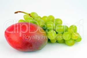 Mango and green grapes.