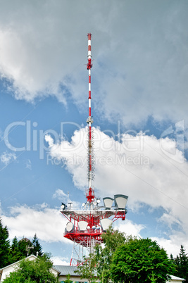 Communication Tower with Clouds