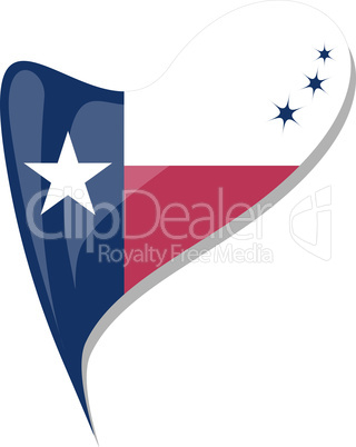 texas flag button heart shape. vector