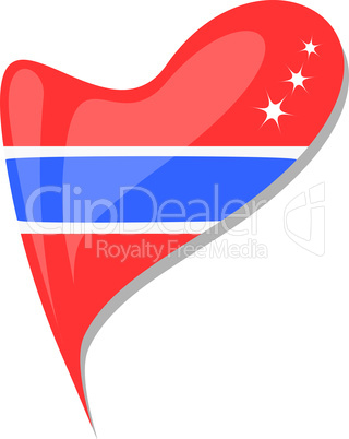 thailand flag button heart shape. vector