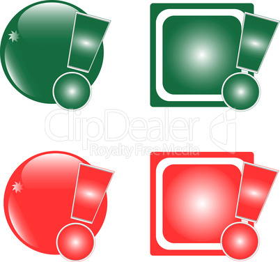 glossy button with exclamation mark colored icon