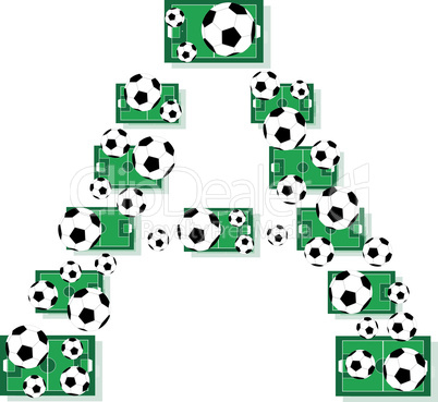 A, Alphabet Football letters made of soccer balls and fields. Vector