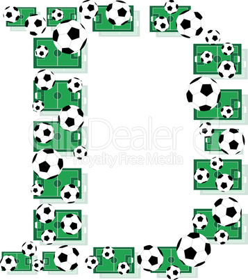 D, Alphabet Football letters made of soccer balls and fields. Vector