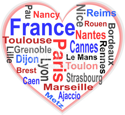 France Heart and words cloud with larger cities
