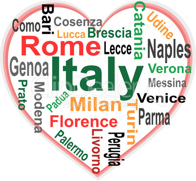 Italy Heart and words cloud with larger cities