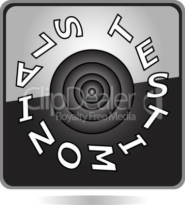 TESTIMONIALS black button icon isolated on white