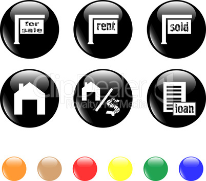 set of icon house sale home black button