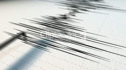 A close view of a seismograph arrow