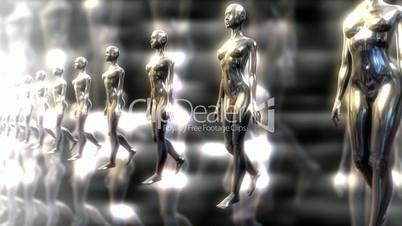 A line of mercury women walking