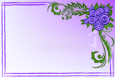 Business card with purple roses.eps
