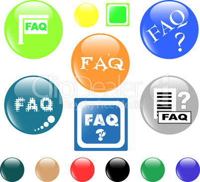 button FAQ various colored icon
