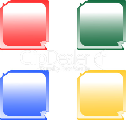 set of colorful deformed glossy web button