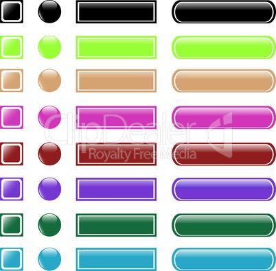 set of colorful web button shiny icon