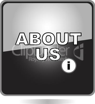 black button about us web shiny icon